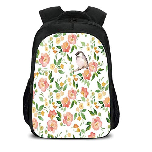 "15.7"" School Backpack,Floral,Flower Petals Blossoms Leaves and Bird Sitting Vintage Elegance Image,Coral Fern Green White,for Teenagers Girls Boys"