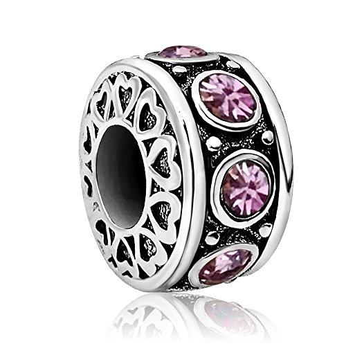 JMQJewelry Heart Birthday Birthstone June Purple Spacer Crystal Charms For Braceletes (Girl Charm Birthstone June)
