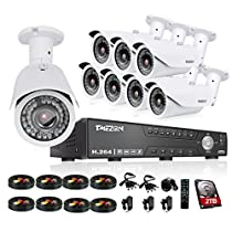 TMEZON HD 1080N 16 Channel AHD Security System with 8x 2.0MP Cameras 130ft Night Vision 2.8-12mm Zoom Lens Outdoor Video Surveillance DVR Kits 2TB HDD