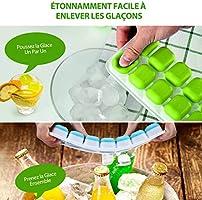 Boissons TOPELEK 2 Paquets Bac /à gla/çons en Silicone 14 Blocs Gla/çons pour Whisky sans BPA Cocktails LFGB