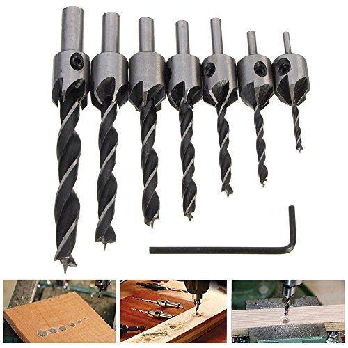 Tonsiki 7pcs HSS 5 Flute 3-10mm Countersink Drill Bit Set Reamer Woodworking Chamfer (Drill Bit Set Woodworking Tools)