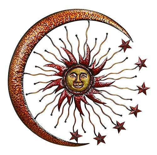 Bellaa 20025 World Best Sun Moon Stars Metal Wall Hanging Garden Art 36