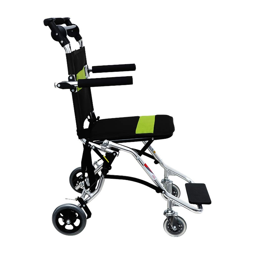 MLX Portable Wheelchair, Elderly Aluminum Alloy Wheelchair, Breathable Fabric Foldable, Suitable for Disabled Legs and Feet by MLXCY