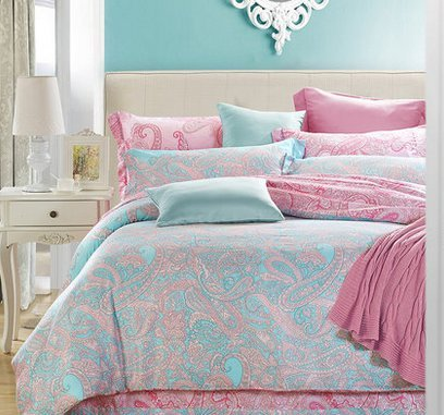 Graceful 4 Piece Bedding Set For Women, Shabby Chic Printed Bedding, Red And Blue Bedding Sets, Ultra Smooth Tencel Bed Sets, Duvet Cover, Flat Sheet & 2 Pillow Cases (Type 2)