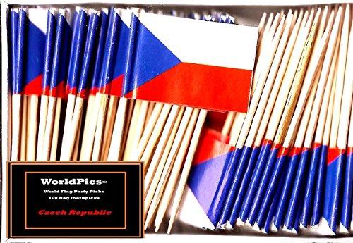 One Box Czech Republic Toothpick Flags, 100 Small Czech Cupcake Flag Toothpicks or Cocktail Picks