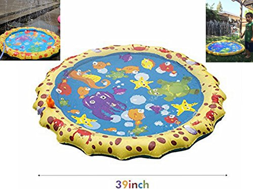 Anermy Kids Water Sprinkle and Splash Pad Play Mat Toy Outdoor Summer Fun Water Sports Spray Mat For Baby Kid and Child Colorful 39in-Diameter by Anermy