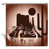 CafePress Kokopellis in the Southwest Brown Shower Curtain Decorative Fabric Shower Curtain (69''x70'')