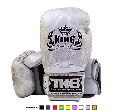 Thai Silver Snake - Top King Muay Thai Boxing Gloves Super Snake - White/Silver, 14 oz