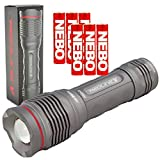Nebo 6639 Redline V LED Flashlight Magnetic Base 4X Adjustable Zoom Waterproof with 6 Nebo AAA Batteries