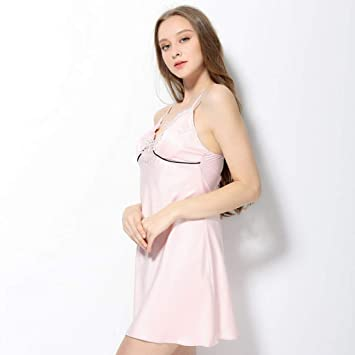 SYY Pajama Suit, Cotton with Pockets Bathrobe,Female Summer Polyester hot  Sleep Dress with Chest Pad Gather Together Nightgown, Short Paragraph Sling  ... c45ffefea