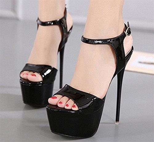 de tacón de black Sexy Plataforma de alto tacón 39 Mujer Outcrop Sandalias NVXIE aguja Hollow Zapatos Nightclub 34 qnwxH8tSt