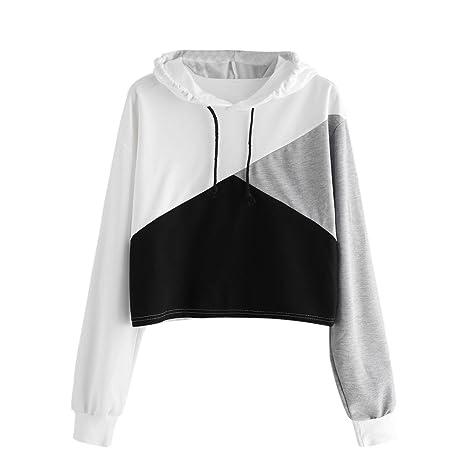 Femmes Capuche Shirt Femme À Pullover Sweat Sweatshirt Longue ChemisiersBlanc Manche ImpriméLmmvp Patchwork 4Lcjq5A3R