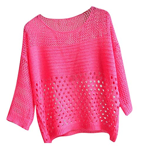 Fshinging Knitting T-Shirt, Women Solid Color Tee Hollowing Out Tops Half Sleeve O-Neck Blouse Bikini Cover Up(Hot Pink,One Size)