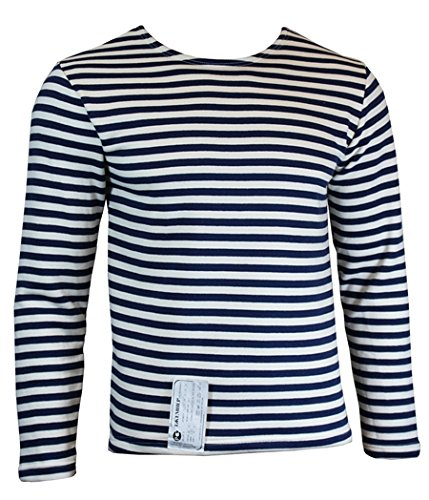 Genuine Winter Issue TELNYASHKA Russian Navy Blue Striped Long Sleeve Sweater Top (44