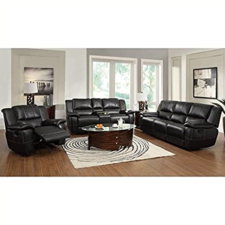 Coaster Lee Transitional 3 Piece Reclining Sofa Set in Black  sc 1 st  Amazon.com & Amazon.com | Coaster Lee Transitional 3 Piece Reclining Sofa Set ... islam-shia.org