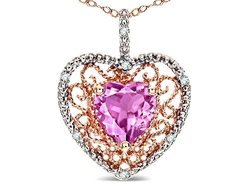 Star K Heart Shape 8mm Created Pink Sapphire filigree Heart Pendant Necklace 10k Rose Gold