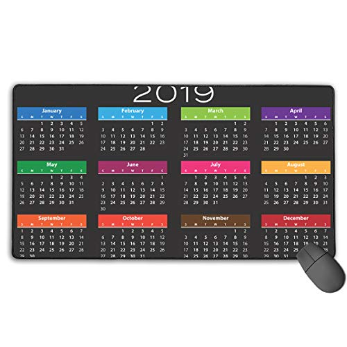 2019 CalendarExtended Gaming Mouse Pad 15x29in Computer Keyboard Mousepad Mouse Mat Non-Slip Base