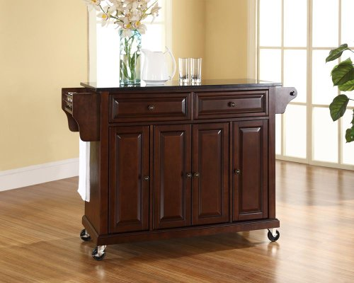 (Crosley Furniture Rolling Kitchen Island with Solid Black Granite Top - Vintage Mahogany)