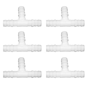 "JoyTube 1/4"" Plastic Hose Barb Fittings Equal Barbed Tee Pipe Connectors 3 Way Joint Splicer Mender Union Adapter for Boat Aquarium (Pack of 6)"