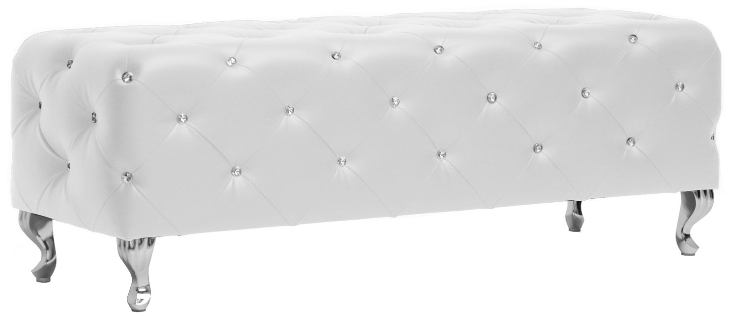 Baxton Studio Stella Crystal Tufted Modern Bench, White, 54(L) X19(W) X19.5(H) by Baxton Studio