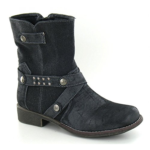 Ankle Style Black Boots On Ladies F50051 Spot Canvas qwfgOxA1