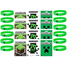 Minecraft Party Bag Fillers - 12 Official Minecraft Creeper Wristbands and 12 Official Mine Craft Stickers (Children: L/XL)