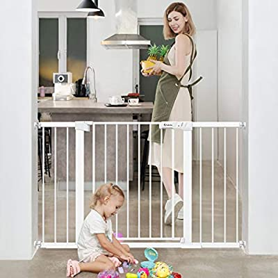 Tokkidas Baby Gate for Stairs and Doorways,Auto Close Safety Baby Gates,51.6-Inch Extra Wide Walk Thru Baby Gate,Includes 2.75 5.5 and 11 Extension Kit,Mounting Kit