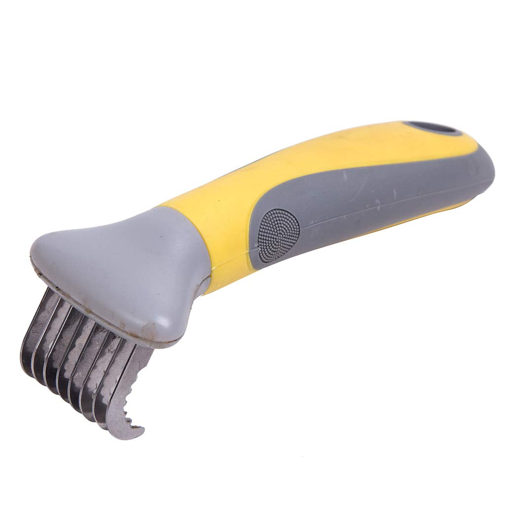 SummarLee Pet Comb Stainless Steel Blade Elbow Smooth Hair Knot Massage Beauty Non-Slip Silicone Handle Yellow + Gray Dog Cat Comb 5.5x15.5cm