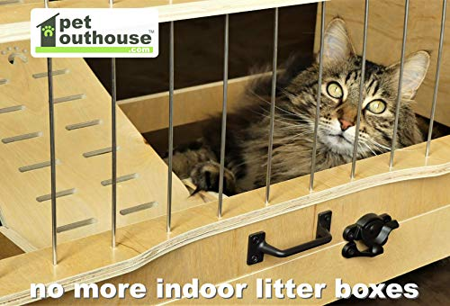 Pet Outhouse Cat Litter Box Furniture Enclosure | Imagine No Indoor Kitty Boxes, No-Odor, and No-Mess Using This Large Enclosed Hidden System