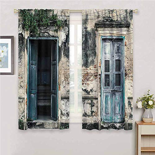 Rustic Decor for Bedroom Blackout Curtains Doors of an Old Rock House with French Frame Details in Countryside European Past Theme Blackout Curtains for The Living Room W42 x L72 Inch Teal and Grey