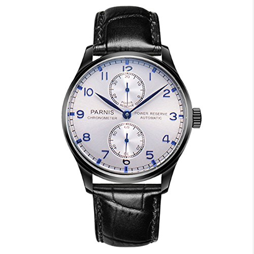 Parnis 43mm White Dial PVD Coated Case Portugal Style Power Reserve Seagull Automatic Movement Men