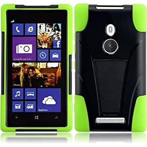 HR Wireless T -Stand Protective Cover for Nokia Lumia 925 - Retail Packaging - Black/Neon Green
