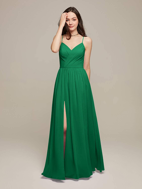 AW BRIDAL Spaghetti Strap Maxi Dresses for Women Party Wedding Evening Dresses Long Bridesmaid Dresses Green