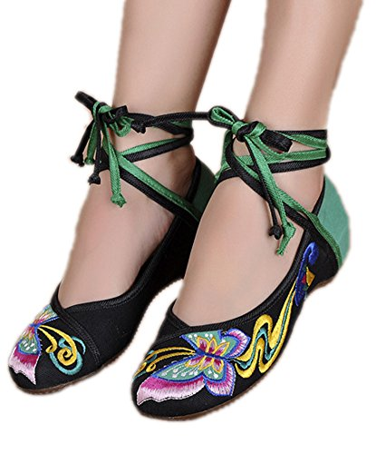 AvaCostume Womens Embroidery Classics Butterfly Cheongsam Flat Shoes