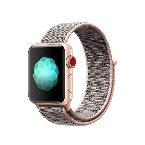 Tentan Woven Nylon Strap Replacement Sport Loop Nylon Band for Apple Watch Band Series 3 Series 2 Series 1 All Versions (38MM Pink Sand)
