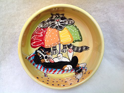Bernese Mountain Dog 10'' Ceramic Dog Bowl for Food or Water. Personalized at no Charge. Signed by Artist, Debby Carman. by Faux Paw Productions, Inc., Laguna Beach, CA