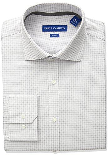 - VINCE CAMUTO Men's Slim Fit Dobby Check Dress Shirt, Onyx, 17 32/33