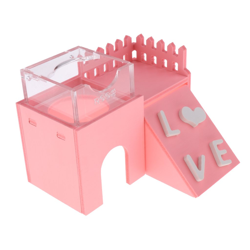 MagiDeal 3 in 1 Small Animals Nest Bed Hut House Funny Ladder Toy Feeder Bowl Chewing Toy - Pink