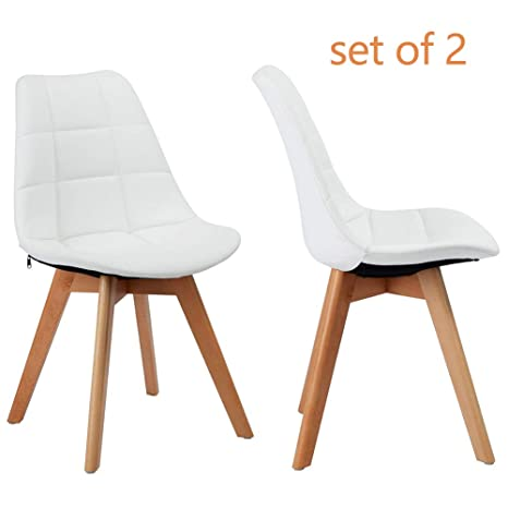Swell Greenforest Dining Chairs Set Of 2 Upholstered Leather Kitchen Chairs Accent Leisure Chair For Living Room White Bralicious Painted Fabric Chair Ideas Braliciousco