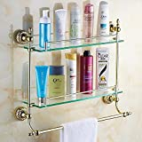 JinRou Unique design style Gold-bathroom accessories glass shelves bathroom cosmetics bath rack