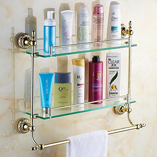 JinRou Unique design style Gold-bathroom accessories glass shelves bathroom cosmetics bath rack by JinRou Bathroom?accessories