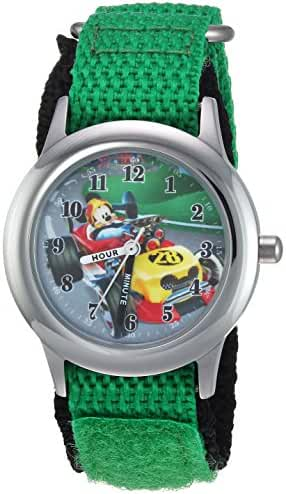 Disney Boy's 'Mickey Mouse' Quartz Stainless Steel and Nylon Casual Watch, Color:Green (Model: WDS000180)