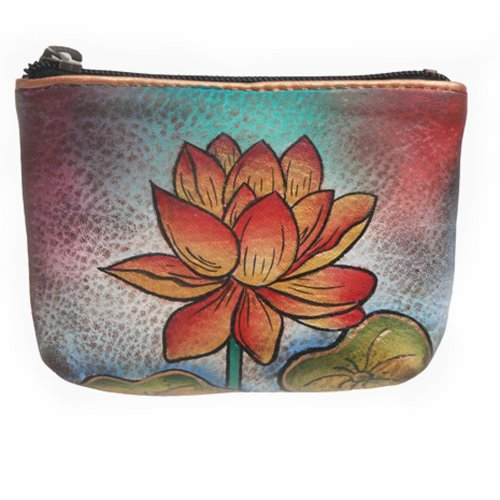 Coin Lotus - Anuschka Genuine Leather Hand Painted Coin Pouch (Oriental Lotus)