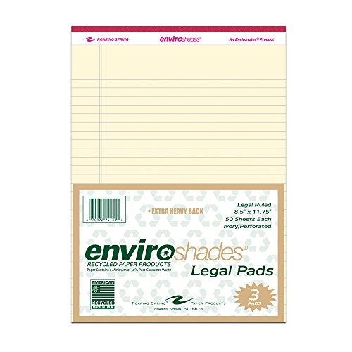 "Roaring Spring Enviroshades 8.5"" x 11.75"" Ivory Legal Pads, 3/pack"