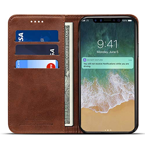 llet Case for iPhone Xs/iPhone X - Flip Folio Style Phone Case Cover with Card Slots & Note Pocket for Apple iPhone X/iPhone Xs - Durable Shockproof ()
