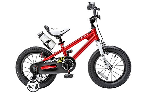 Royalbaby RB14B-6R BMX Freestyle Kids Bike, Boy's Bikes and Girl's Bikes with training wheels, Gifts for children, 14 inch wheels, Red (Pedals Release Quick)