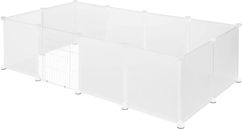 EUGAD DIY Jaula Modular Plástico Valla para Animales Pequeños, Parque para Niños Jaula Mascotas para Conejos Hámsteres Cobayas Perros Gatos 12 Piezas 142 x 71 x 45 cm 0009WL