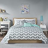 Intelligent Design Nadia King/Cal King Size Quilt Bedding Set - Teal , Chevron – 5 Piece Bedding Quilt Coverlets – Ultra Soft Microfiber Bed Quilts Quilted Coverlet
