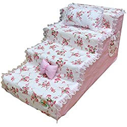 Qz Dog Steps for High Bed for Small Dogs Extra Wide 4 Step, Bedroom Living Room Sofa Couch (Size : Medium)