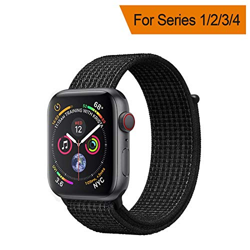 YANCH Compatible with for Apple Watch Sport Loop Band, Lightweight Breathable Nylon Replacement Band Compatible with for iWatch Apple Watch Series 4/3/2/1 Sport, Edition, 42mm N+Black